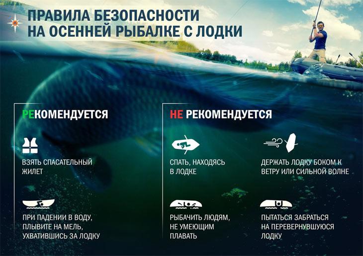 Правила безопасности на осенней рыбалке с лодки